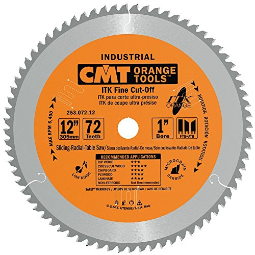 CMT 253.072.12 ITK Industrial Finish Sliding Compound Miter Saw Blade, 12-Inch x 72 Teeth 1FTG+2ATB Grind with 1-Inch Bore (Best Affordable Miter Saw)