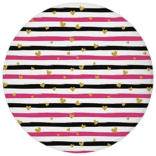 (Round Rug Mat Carpet,Gold and White,Romantic Teenager Love Sign Hearts on Grunge Stripes Lines Decorative,Hot Pink Black and White,Flannel Microfiber Non-slip Soft Absorbent,for Kitchen Floor Bathroom)