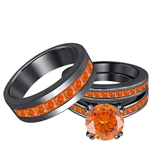 - tusakha Round Cut 2.25cttw Orange Sapphire 14k Black Gold Plated .925 Sterling Silver Trio Rings Wedding Set for His and Her