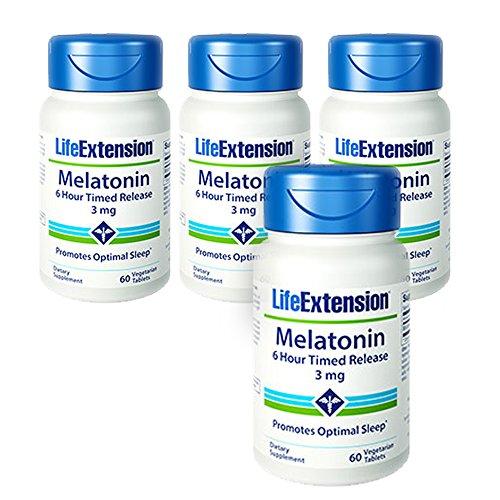 Life Extension Melatonin 6 Hour Timed Release 3mg 60 Vegetarian Tablets - 4-Pak