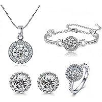 STI-Jewels 4pcs Fashion Crystal Earrings Necklace Set,Round Cut Cubic Zirconia Jewelry Sets Women Girls