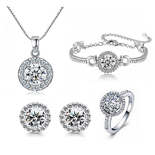 STI-JEWELS Crystal Pendant Necklace Earring Set,Silver Cubic Zirconia Jewelry Sets for Women Girls Prime by STI-JEWELS