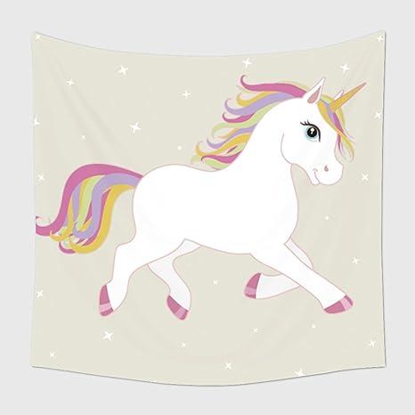 Home Decor Arazzo Da Parete Bianco Vector Unicorno Multicolore Con
