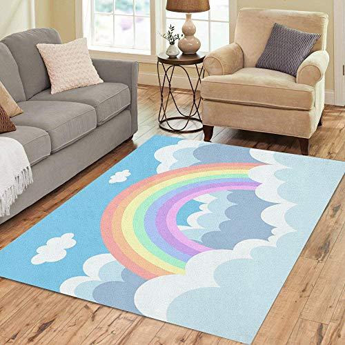 - Pinbeam Area Rug Blue Beautiful Pastel Rainbow in The Cloud Colorful Home Decor Floor Rug 5' x 7' Carpet