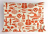 Ambesonne Mexican Pillow Sham, Ethnic South American Culture Sombrero Mariachi Hats Skulls Guiatar Tacos Print, Decorative Standard Size Printed Pillowcase, 26 X 20 inches, Cream Orange