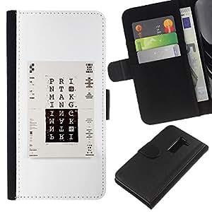 EJOY---La carpeta del tirón la caja de cuero de alta calidad de la PU Caso protector / LG G2 D800 / --Imprimir cartel minimalista Blanco Negro