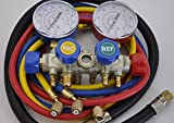4-Way Manifold Gauge Set with 5ft Hose Set Aluminum Alloy Block Frame +3ft 3/8 Vacuum Hose for R410a R22 R134a and R404a,One Set Tools Does It All+Vacuum Hose New Design Professional Kit