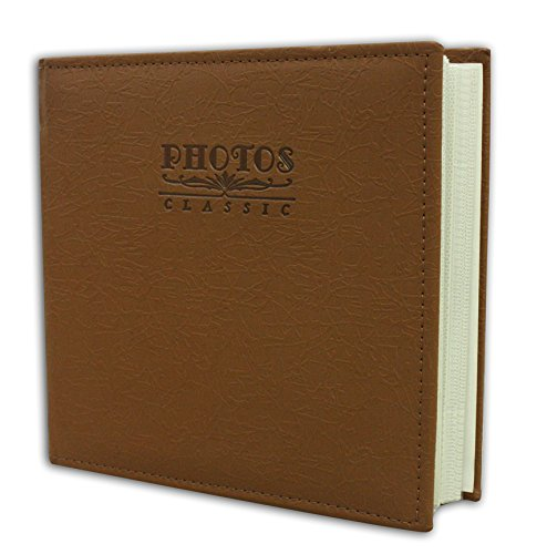 Golden State Art Photo Album, Holds 200 4''x6'' Pictures, 2 per Pages, Faux Leather Vintage Inspired Cover, Marron Brown by Golden State Art