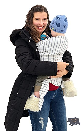 Sleepy Baby Wrap Comfortable Cotton Carrier | Newborn Soft, Infant Carrier | Stretchy Baby Carrier Wraps | Grey Stripes Color with Match Bandana bib |Baby Shower Gift |Easy to Use Baby Wrap Carrier
