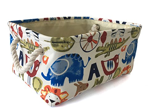 Rectangular Storage Basket Collapse Canvas Fabric Cartoon Storage Cube Bin With Handles for Organizing Home/Kitchen/Kids Toy/Office/ Closet/Shelf Baskets(Zoo)