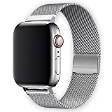WAAILU Compatible with Apple Watch Band 38mm 40mm 42mm 44mm, Colorful Stainless Steel Mesh Sport Wristband Loop Compatible for iWatch Series 4/3/2/1 (Silver, 42mm/44mm)