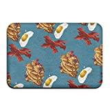 Homlife Rectangle Thin Doormats Art Breakfast Food Pattern Entrance Mat Non-Slip Indoor Outdoor Area Rug Bathroom Mats Coral Fleece Home Decor