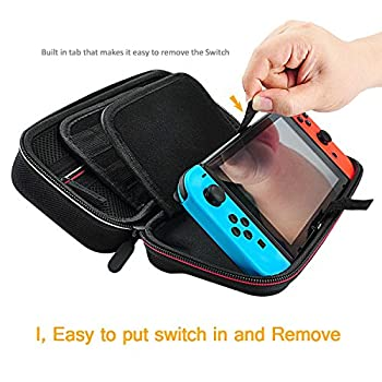 Deruitu Switch Case For Nintendo Switch - Fits Ac Wall Charger Adapter - With 29 Games & 2 Sd Cards, Hard Shell Travel Carrying Case Pouch For Nintendo Switch Console & Accessories - Black 3