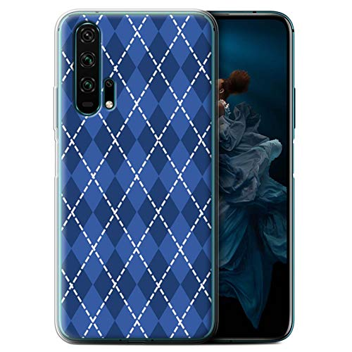 (eSwish Gel TPU Phone Case/Cover for Huawei Honor 20 Pro/Winter Argyle Design/Blue Fashion Collection)