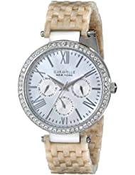 Caravelle New York Womens 43N102 Crystal-Accented Stainless Steel Watch