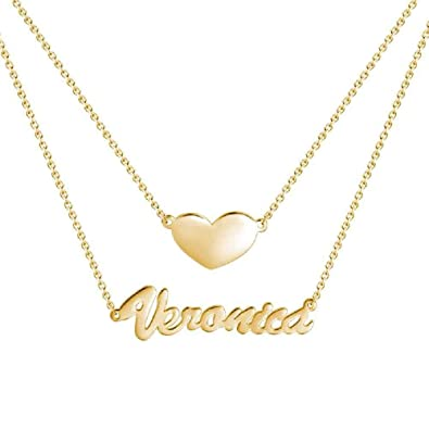 48b427932a45d ECKETE Personalized Name Necklace Custom 925 Sterling Silver Customize  Heart Charm Multi Layer Nameplate Necklace 18K Rose Gold Plate Mother  Friendship ...