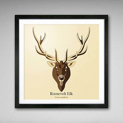 Roosevelt Elk Graphic Icon Print 8x8