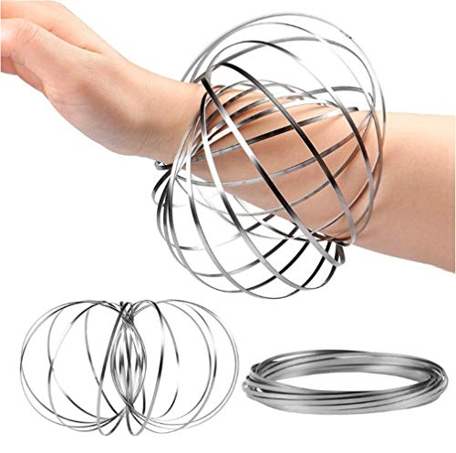 mozi arm Spinner Kinetic Educational Spring Toy Multi Sensory Interactive 3D Shaped Flow Ring HK-082 (Silver)