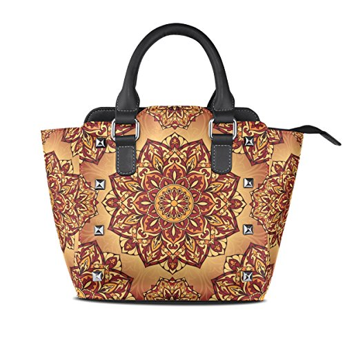 Sunlome Bright Medieval Hippie Bohemian Psychedelic Pattern Handbags Women's PU Leather Top-Handle Shoulder Bags
