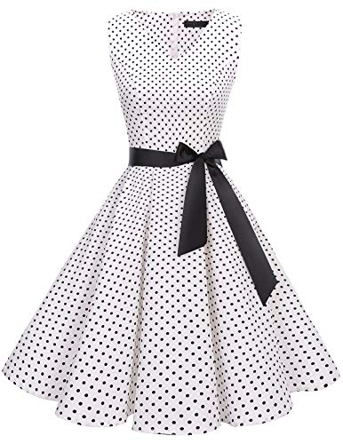 Bridesmay Women's V-Neck Audrey Hepburn 50s Vintage Elegant Floral Rockabilly Swing Cocktail Party Dress White Small Black Dot S