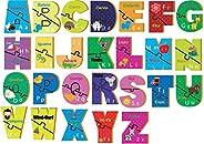 Brinquedo Pedagógico Madeira Aprendendo o Abc com 52 Peças Brincadeira De Criança