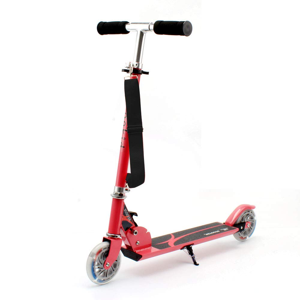 HONKID Patinete Aluminio con 2 Ruedas - Scooter Patinete Plegable 85cm Altura Ajustable para niños de 3-12 años de Edad, Rosa