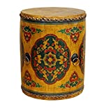Chinese Drum Coffee Table Distressed Oriental Chinese Tibetan Drum Shape Yellow Floral Coffee Side Table Acs3581