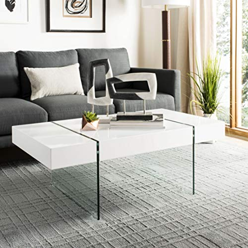 Safavieh Home Collection Jacob White Rectangular Glass Leg Modern Coffee Table (Office Desks Glass)