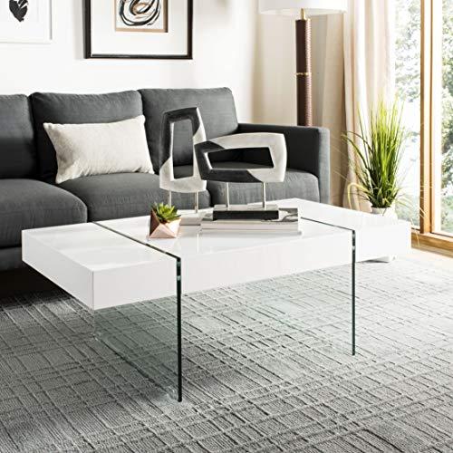 Safavieh Home Collection Jacob White Rectangular Glass Leg Modern Coffee Table