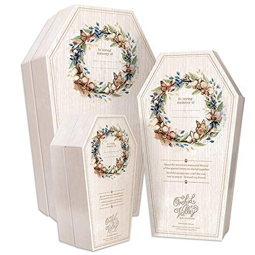 (Orchid Valley Pet Casket Coffin Set Biodegradable and Eco Friendly Cardboard - Large - Suitable for Cat or Small Dog - Natural Burial or Cremation)
