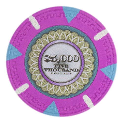 Claysmith Gaming The Mint Poker Chip Heavyweight 13.5-Gram Clay Composite - Pack of 50 ($5000 Pink)
