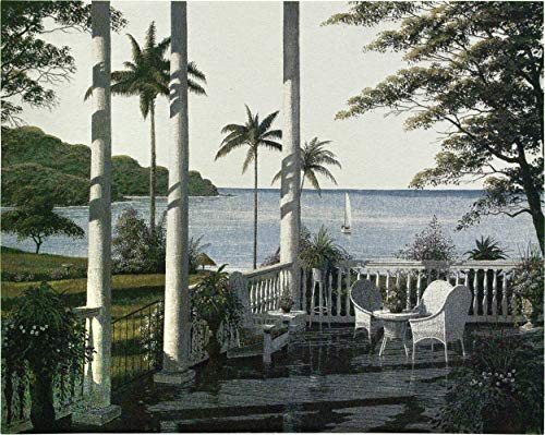 Caribbean Comfort by Bill Saunders | Woven Tapestry Wall Art Hanging | Tropical Porch Ocean Scene | 100% Cotton USA Size 53x40