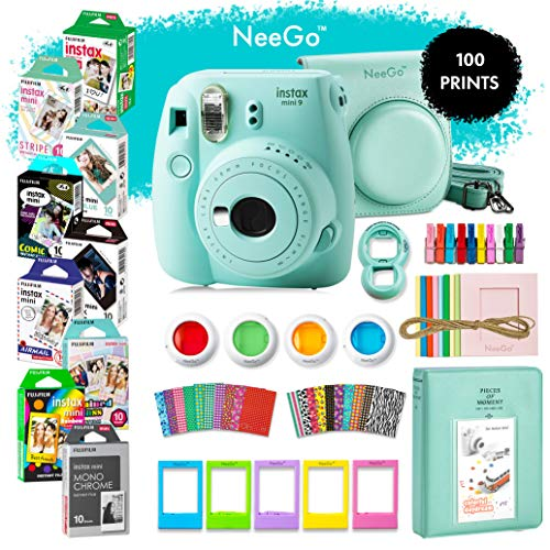 NeeGo Instax Mini 9 Instant Camera Bundle – Deluxe Kit with Camera, Matching Case & 9 Fun Film Packs–100 Exposures for Instant Creative Photos-Ice Blue