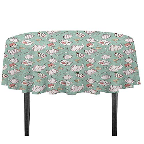 kangkaishi Tea Party Leakproof Polyester Tablecloth Polka Dots on Teapots and Cups Cupcake with Cherry on Top Teabag English Dinner Picnic Home Decor D51.18 Inch Almond Green Coral]()