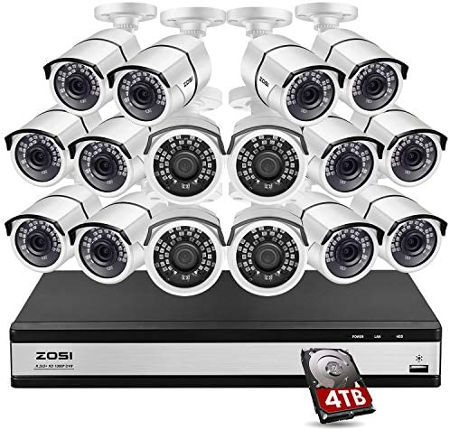 ZOSI H.265+ 16 Channel Security Camera System 1080p,16 Channel DVR with Hard Drive 4TB and 16 x 1080p Surveillance CCTV Camera Outdoor Indoor with 120ft Night Vision,105°Wide Angle, Remote Access