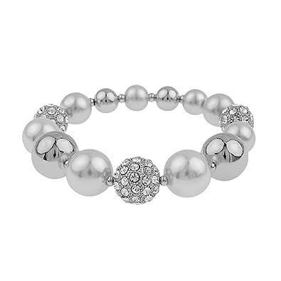 Snö of Sweden Women Silver Plated Stretch Bracelet - 692-5069010 caQXZ5pL