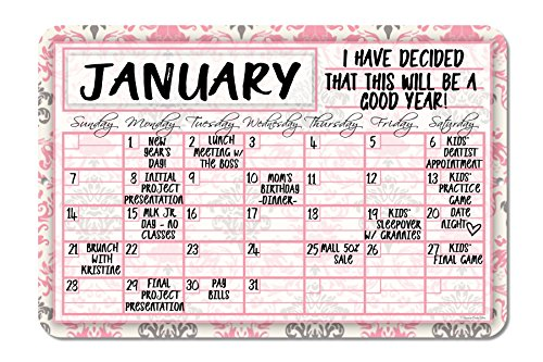 Floral Pink Decorative Wall Calendar Planning Board - Reusable Easy Clean by Honey Dew Gifts