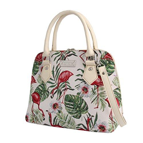 Bag Bag Top Tapestry Body Shoulder Women Flamingo FLAM Cross Handle Signare Handbag CONV qUzwYY