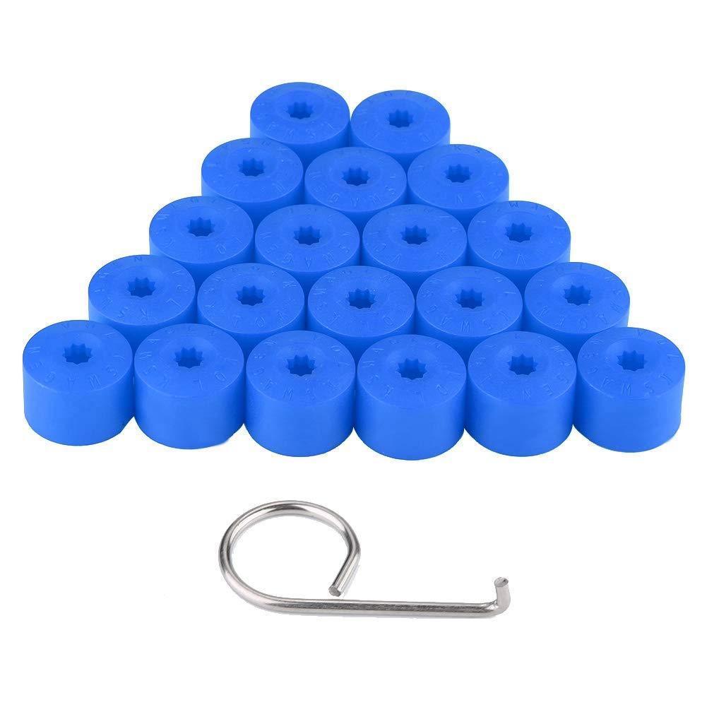 Blue 20pcs 17mm blocco della ruota lug bullone cap coperchio tappo ruota auto mozzo vite protezione antipolvere antifurto