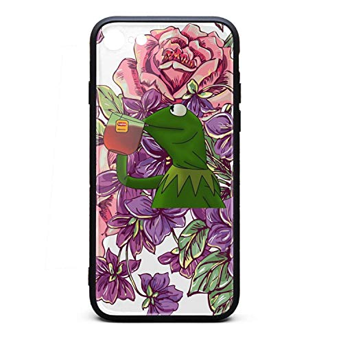 Black Tropical Flowers Floral Funny-Green-Frog-Sipping-Tea-Phone Case Back Cover for Iphone6/Iphone 6s Best Non-Slip 3D Printed PC TPU Shockproof Anti-Scratch ()