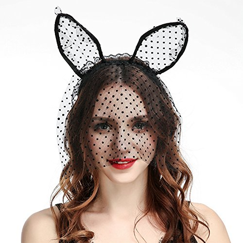 Lace Cat Ear Headbands with Veil Lace Hair Hoops for Costume Party Cosplay Masquerade Headpiece Nightclub ()