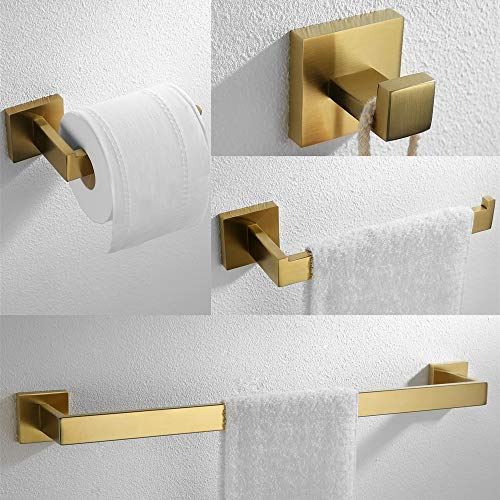 VELIMAX 4-Piece Bathroom Hardware Set Towel Hook Toilet Paper Holder Towel Bar Towel Ring Wall Mount, Brushed Gold Finish (Hardware Paper Toilet)