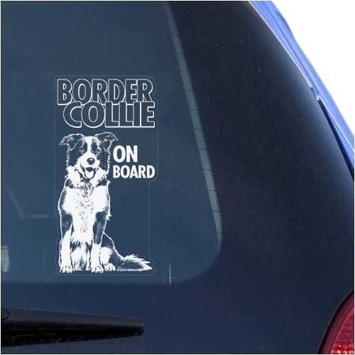 English Border Collie Clear Vinyl Decal Sticker for Window Scottish Sheep Dog Sign Art Print