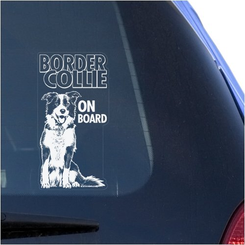 English Border Collie Clear Vinyl Decal Sticker for Window, Scottish Sheep Dog Sign Art Print