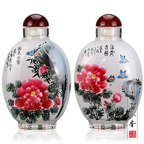 TANGFOO Creative Inside painted snuff bottles Chinese gifts Chinese style traditional hand-painted home decoration (grey) ()