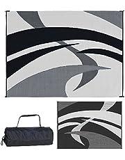 Reversible Mats Outdoor Patio / RV Camping Mat - Swirl (Black/White, 9-Feet x 12-Feet)