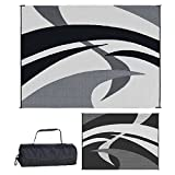 Reversible Mats Outdoor Patio / RV Camping Mat - Swirl (Black/White, 9-Feet x 12-Feet)