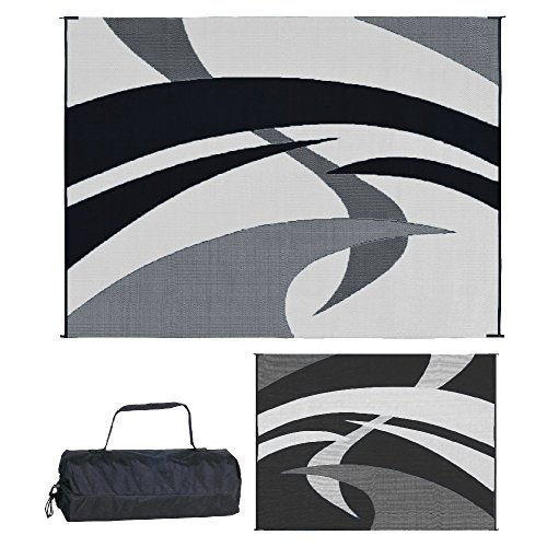 Cheap  Reversible Mats Outdoor Patio / RV Camping Mat - Swirl (Black/White, 9-Feet..