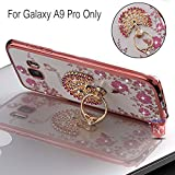 KC Peacock Ring Stand Case with Diamond Crystals Printed Flowers, Soft Transparent Back cover for Samsung Galaxy A9 Pro - Rose Gold + Pink