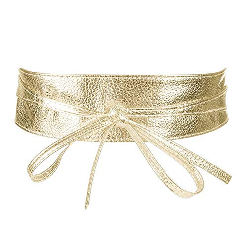 Women PU Leather High Waist Lace Up Wide Belt Slimming Girdle Ties Bow Bands For Dress,gold ()